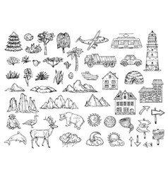 Hand drawn map elements sketch hill mountain vector