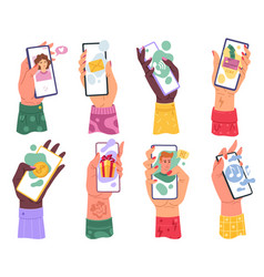 hands with phones millennials woman hand holding vector image