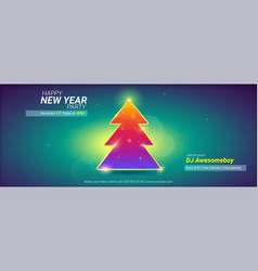 happy new year holidays card with christmas tree vector image