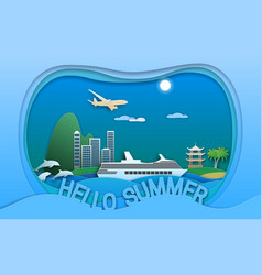 hello summer in paper cut style sea vector image