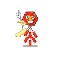 Holding bill cute chinese firecracker character vector