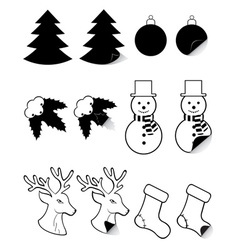 Icons labels for christmas and new year black and vector
