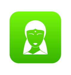 indian woman icon digital green vector image
