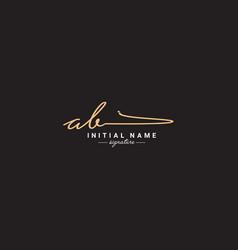 Initial letter ab logo - handwritten signature vector