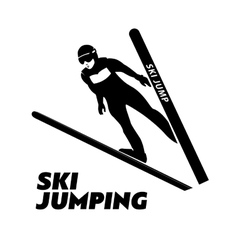 Jumping skier silhouette vector