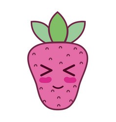 kawaii cute funny strawberry fruit vector image