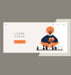Learn chess landing page vector