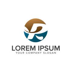 letter r leaf logo circle design concept template vector image