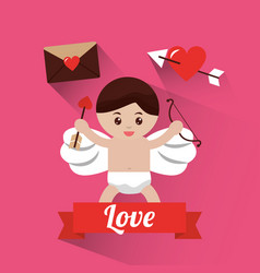 Love cupid holding bow and arrow banner vector