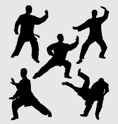 martial art fighter silhouette vector image