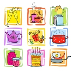 Meal and ware doodle set vector image