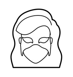 Monochrome thick contour head of faceless woman vector