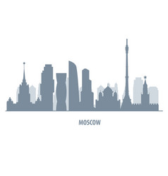 moscow skyline silhouette - landmarks cityscape vector image