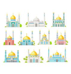 Muslim mosque building icons islam religion vector