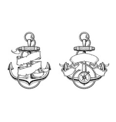 Nautical anchors with vector
