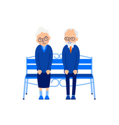 old couple sit on bench an elderly man sits on vector image