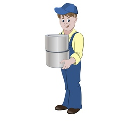 Painter standing with the pile of buckets vector image