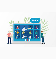 People video conference virtual meeting vector