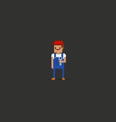 Pixel art plumber vector