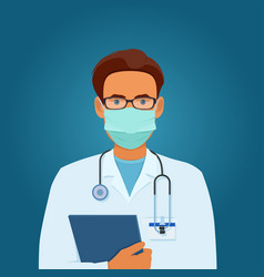 portrait male doctor in medical mask vector image