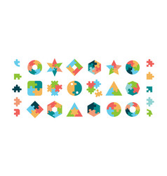 puzzle jigsaw pieces various geometrical forms vector image