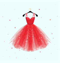 red dress for valentine day party card vector image