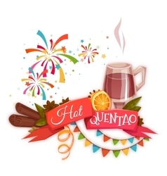 Red ribbon with hot quentao for Brazil june party vector