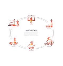 sales growth - analytic period increase economy vector image