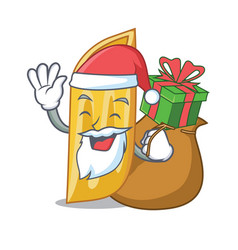 Santa with gift penne pasta character cartoon vector