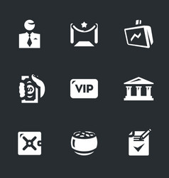 Set of bank vip service icons vector