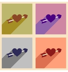 Set of flat web icons with long shadow arrow heart vector