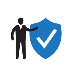shield and check mark icon vector image