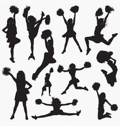 Silhouettes cheerleader 2 vector
