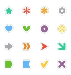 Simple flat stickers icon set on white vector image