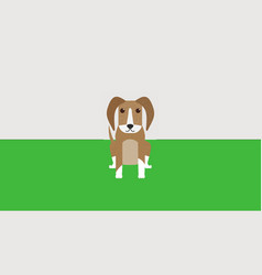 sitting grainy dog on lawn vector image