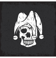 Skull in jester cap grunge design template vector