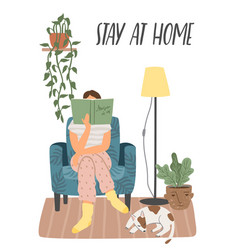 Stay at home young woman sitting in armchair and vector