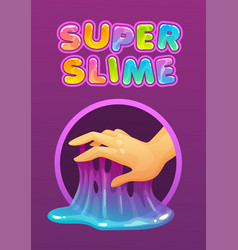 Sticky glue on fingers funny colorful vector