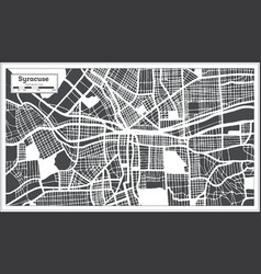 syracuse usa city map in retro style outline map vector image