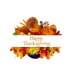 Thanksgiving autumn harvest decoration banner vector