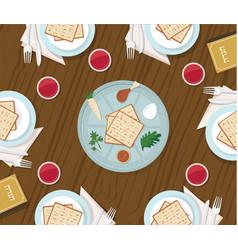 Traditional passover table with passover plate and vector