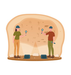 Two young archeological discovering cave paintings vector