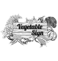 Vintage vegetable produce sign vector