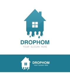 water and drop house logo vector image
