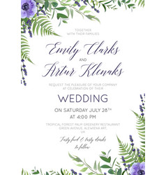Wedding floral invite card with flowers vector