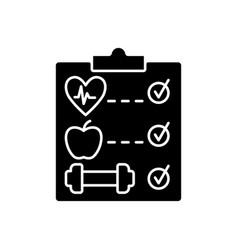 Wellness program black glyph icon vector