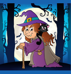 Witch with cat topic image 6 vector