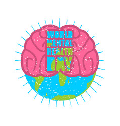 World mental health day brain and earth grunge vector