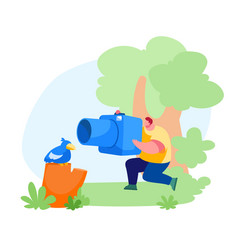 young photographer male character making picture vector image