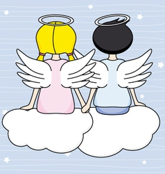 Angels sitting above the clouds vector image vector image